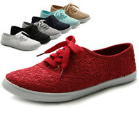 Ollio Womens Ballet Shoes  Lace Up Sneakers Canvas Flats