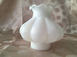 Art Nouveau Antique Translucent Opalescent white glass shade flower petal
