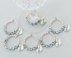 Personalised hen party hen do wedding day wine glass charm glass decor favours