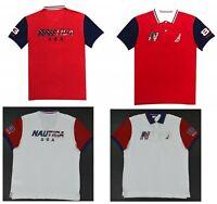 NWT Men's Nautica USA Canada Flag Classic Fit Short Sleeve Polo Shirt