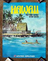 Vintage Original 1970s UNITED AIRLINE HAWAII Travel Poster railway train art air