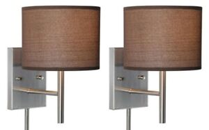 Set of 2 Satin Nickel Indoor Plug-In Wall Mount Lights! Reading Sconce Lamp Lot