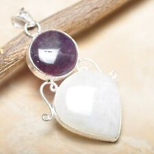 """Fire White Rainbow Moonstone Opal 925 Sterling Silver 2.75"""" Pendant #P14485"""