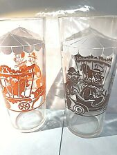 New listing Vintage Set of 2 Circus Clown Tumbler Drinking Glasses Clowns in Cars and Lions