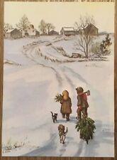 MINT 1981 Tasha Tudor VINTAGE Christmas Card kids bring Tree Amer Artists P152