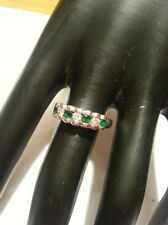 Emerald/Diamond eternity Ring white gold 4.5 grams14ct value £600 2007