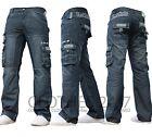 New Mens Enzo Designer Dark Cargo Combat Denim Jeans Pants All Waist & Leg Sizes