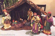 """Nativity Manager Scene Vintage Christmas Creche 11 Piece Set 7"""" Figure Porcelain"""