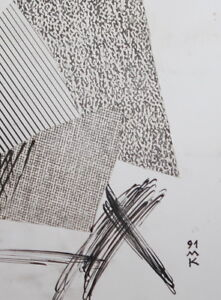 Abstract Cubist Composition Ink / Collage Drawing Signed