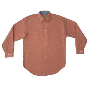 Brooks Brothers Linen Button Down Shirt Small Red Orange Long Sleeve Button Down