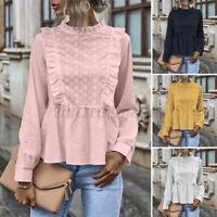 Women Ruffled Long Sleeve Shirt Tunic Top Babydoll Retro Floral Blouse Plus Size