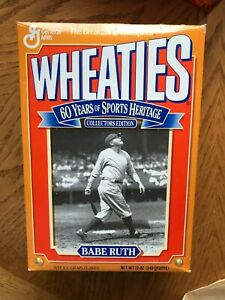 1992 Babe Ruth Wheaties Cereal Box  New York Yankees Baseball 12 Oz