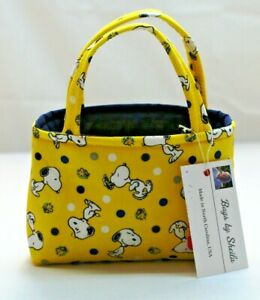 Peanuts Snoopy & Woodstock Children's Hand Bag 100% Cotton Hand Made in USA  NEW