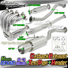 92-00 CIVIC 2/4-DOOR FULL EXHAUST KIT CAT BACK+HEADER+EXHAUST PIPE EG EK EM JDM