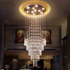Luxury K9 Crystal Chandelier Raindrop Spiral Decoration Ceiling Light LED Light