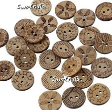 10pcs Mixed Coconut shell Decorative Carved Round Buttons RUSTIC Sew on 2 holes