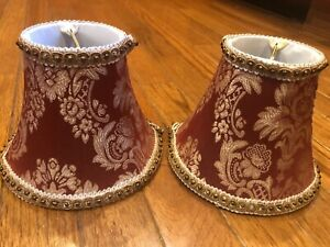 """Red/cream Damask small lamp shades set of 2 (5""""H x 6""""W) FREE SHIPPING"""