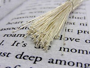 100 Pcs - 40mm Silver Plated Ball Head Pins Jewellery Craft Finding Beading H111