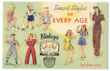 KLAD-EZEE CLOTHES for EVERY AGE - Super 1942 LINEN Ad Postcard RARE