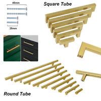 Stainless Steel Round/Square Kitchen Cabinet Handle Pull Brass Door Drawer Knob