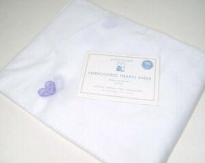 "Pottery Barn Kids Purple Embroidered Heart Pole Pocket Window Sheer Drape 96"""