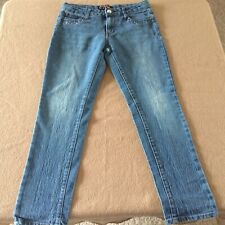 Girl's One Step Up jeans size 14 blue ramie cotton short stretchy 28 x 26