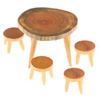 5Pcs/Set 1:12 Dollhouse Miniature Wooden Dining Table Chair Doll House Decor SE