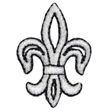 "Fleur De Lis Applique Patch - Metallic Silver, Black 1.5"" (Iron on)"