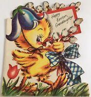 Vtg Easter Greeting card Baby Duck Glitter Duckie Die Cut Floral American Greet