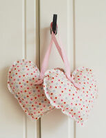 Handmade Tilda Fabric Hanging Hearts Set of Two Vintage Wedding Shabby Chic