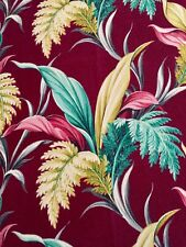 Exquisite Jewel Tones Vintage Tropical Barkcloth Panel