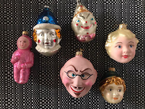 ANTIQUE VINTAGE GERMAN GLASS CHRISTMAS ORNAMENTS HEADS FACES PEOPLE