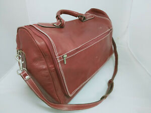 Burberry Red Leather Travel Bag 53cm Long