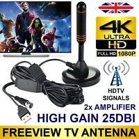 200mile High Gain Freeview HD TV Aerial Indoor Digital TV Antenna + Dual Booster
