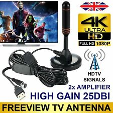 200mile High Gain Freeview HD TV Aerial Indoor Digital TV Antenna + Dual Booster