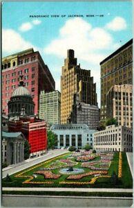 "1940s Jackson Mississippi Postcard ""Panoramic View"" City Hall Garden KROPP Linen"