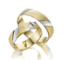 585 Weißgold Eheringe, Trauringe, Verlobungsringe Gravur Bicolor Goldringe M327