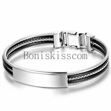Polished ID Black Silver Stainless Steel Cable Rope Men's Women's Bracelet Cuff