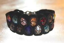 Exclusives Armband Handarbeit Samt bunte fassettierte Glas-Perlen NEU