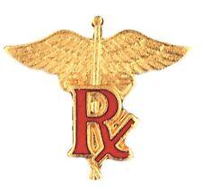 Pharmacist Pharmacy Tech PIN R/X Caduceus Gold Plated Medical Insignia Emblem