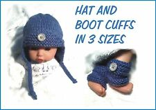 CHUNKY QUICK KNITTING PATTERN: BABY BOY / REBORN HAT AND BOOT CUFFS.  3 SIZES