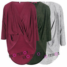 WOMENS LADIES 3/4 SLEEVE DIPPED DRAPE RUCHE CROSS WRAP OVER OVERSIZED BAGGY TOP