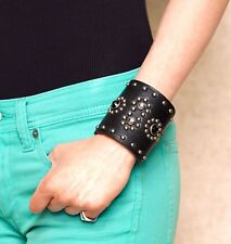 RALPH LAUREN COLLECTION LEATHER STONE STUDDED CUFF BRACELET ITALY $524. NWT