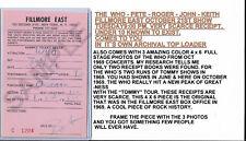 Fillmore East The Who Original Box Office Receipts Oct 1969 + 3 F.E. Who Photos