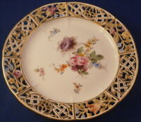 Antique 19thC Meissen Porcelain Small Floral Reticulated Plate Porzellan Teller