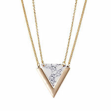 Gold 18K Gp Layered Necklace Natural White Turquoise Triangle Quartz Marble