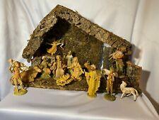 "Christmas Fontanini Nativity 15pc Set ~12"" Wood Stable Manger*Italy~5"" Figures"