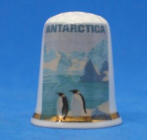 Birchcroft China Thimble - Travel Poster Series - Antarctic - Free Dome Gift Box
