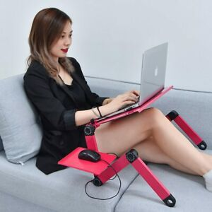 Adjustable Laptop Table for Bed Portable Lap Desk Foldable Stand with Mouse Pad