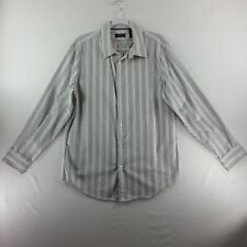 Structure Womens Button Down Top Large Black Grey Striped Long Sleeve